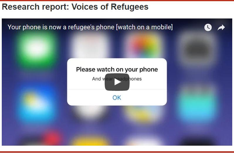 Voices of Refugees (BBC) : L'objet smartphone, analyse et partage d'expériences.